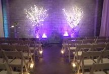 Wedding at Within Sodo January 2014 / intimate wedding with modern decor including silver painted branches, twinkle lights and tons of candles!