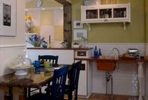 Blue Point Kitchen / A very low budget kitchen I designed in Blue Point, NY. Lots of wood and color made the kitchen sing. #kitchen #kitchenrenovation #paint #paintedcabinet #benjaminmoore #asklu / by Lucianna Samu Color & Design