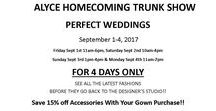 #Homecoming 2017 / 4 days ONLY! Trunk Show at Perfect Weddings in Lancaster, Ohio.