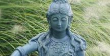"""Kwan Yin Statues / Kwan Yin is regarded as a mother figure. A Buddhist bodhisattva, she embodies mercy and compassion. Her name means, """"One who hears the cries of the world."""" Browse through detailed statues and bring Kwan Yin's comforting presence to your home our garden."""
