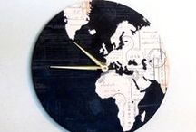 Map Wall Clocks / Each of these eco-friendly wall clocks are covered in beautiful map prints.  If you have a particular area in mind, please feel free to contact me.  I do use real maps and can pinpoint a spot for you.