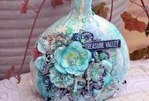 Altered Bottles / Altered bottles and jars - mason jars - wine bottles - all types. / by Marjie Kemper Designs