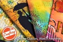 Online Mixed Media Class: Inventive Ink - Colorful  Mixed Media Effects / My online class with Craftsy consists of 7 lessons on building up layers with Distress Inks, Distress Stains, Dylusions Ink Sprays, stamps and stencils. Craftsy classes have lifetime access, an interactive platform, and a forum where you can upload your own work.   Register here: craftsy.me/1ONw8iG / by Marjie Kemper Designs