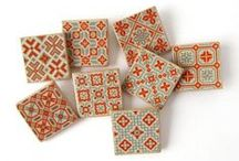 Embroidery: Autumn, Fall, Leaves / Orange green mustard fall Autumn patterns for household sewing.