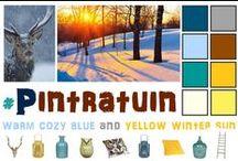 Pintratuin-warm cozy blue and yellow winter sun / Verschillende knusse blauwe tinten gecombineerd met de warme helderheid van diverse geel gouden kleuren refererend  naar het winterzonnetje in de ochtendstond. #pintratuin
