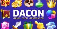 Made With DaCon / DACON is an icon set dedicated to game designers and developers. It's a premium, high quality, and carefully crafted icon set in semi-3D-cartoony style. Very suitable to use on any websites, casual games on mobile or any other devices.  Buy Now at http://bit.ly/getDACON