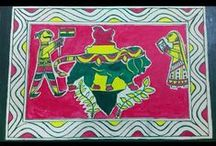 Manjusha Art / Manjushas are an Indian art form. They are temple-shaped boxes comprising eight pillars. They are made of bamboo, jute and paper. They also contains paintings of Hindu gods and goddesses and other characters. These boxes are used in Bishahari puja, a festival dedicated to the Snake God that is celebrated in Bhagalpur, India. It is based on folklore of Bihula-Bishari of Ang Region, so it is also known as Angika Painting.  Visit www.manjushakala.in for more about this art.