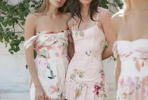 Bridesmaids / long, mismatched, wedding, short, floral, watercolor, blush, blue, fall, summer, spring, country, vintage, neutral, lavender,  green, gray, beach, unique, boho, bohemian, pink, coral, sage, plum, teal, peach, yellow, white, taupe, mauve, dusty rose, off the shoulder, strapless, bridesmaid dress, robes,