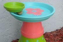 Clay Pot Bird Baths & Feeders