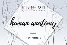 Human anatomy for artists / Studies and research about human anatomy for creating a proportionally correct and dynamic looking figures and body parts.