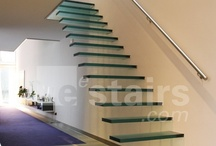 Floating staircases / Floating staircases are a popular design which is unsurprising since they are both subtle and elegant. The treads are fixed to a wall without visible stringers. This makes the treads appear to float – hence the name.   EeStairs produces floating staircases from different materials, with treads made from timber, stone or even glass.