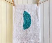 The Palette Muse & Etsy / My own block printed tea towels, as well as home decor and crafts from my favorite source for handmade items: Etsy. I created my tea towel shop to bring a little color and whimsy to the tools of everyday life, and these other makers inspire me.
