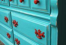 Orange and turquoise / Mid century interior design