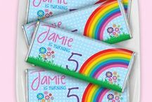 Rainbow Party / Colorful, bright and sunny! No sign of rain showers here.  / by Personalized HERSHEY'S® Chocolate Bars & Wrappers by WH Candy
