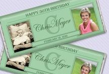 50th Birthday Party Ideas / Celebrate your major birthday milestone with style and flair! / by Personalized HERSHEY'S® Chocolate Bars & Wrappers by WH Candy