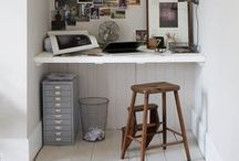 work spaces / home offices, small business spaces, cozy desks / by Lindsay Humes