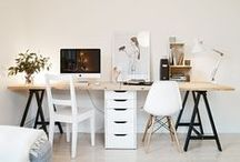 home: office / Minimal workspaces with copper accents, illustrated prints, motivational quotes and cute stationery. Can't get enough of those tidy desks!