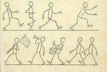 stick figures / illustration, draft, rough, sketch, outline, skeleton, abstract, bones, drawing, draw