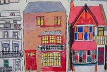 Hôtel Crayon. Paris. / L'hôtel  Crayon propose une ambiance arty. On se croirait dans une maison d'hôte. Le thème de cet hôtel c'est le décor d'une maison d'artiste parisienne. Il y a de la couleur, du graphisme, des meubles chinés aux puces de saint Ouen, de vieilles photos de famille et des accessoires déco vintage. C 'est Julie Gauthron qui a travaillé sur ce projet et qui a déniché tous les meubles vintage. / by Hôtels design à Paris (Mes Nuits Design)