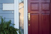 Front Door Curb Appeal / Front doors featuring Emtek's durable brass entrance handleset hardware. New doors helps to increase the value of your home but new hardware can make it look like a million bucks!