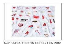 Paper Piecing ( all of my PP for 2012) / After seeing a tut on sew we quilt by Elaine..I was hooked...I do all of my paper piecing with freezer paper..I just ordered a 1000 foot roll...that should keep me busy for awhile. lol / by MADAMESAMM
