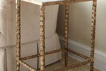Merrow Misc spaces / pieces / entry - chandelier, settee & side table - work with existing ceiling mural  bath mirror - french style / gold  hallway console/chest & rug