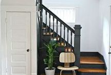Stair Inspiration / Vintage stairway, black stairs, wood stair with painted risers, steel stairway railing, steel railing. wood railing, runner on stairs, entryway with stairs, etc.
