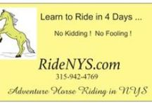 LEARN to RIDE in 4 DAYS   - No Kidding and No Fooling !!!   www.RideNYS.com /  PROMO videos for the Learn to Ride program. We are located in Westernville, NYS which is near Utica, Rome, and Watertown - also known as upstate NY in the foothills of the Adirondacks.  We take only 1 or 2 persons per 4 days session. You will not believe what you ca do after 4 days here !!!!!