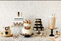 Black, White & Gold - Food Ideas / Black + white are the main colors in this sophisticated theme that is infused with bold gold accents + décor.  Bring the same glamor and modernity into any party with these inspiring food ideas!