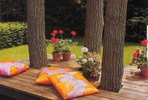 Outdoor / Outdoor: Spun polyesters used for sun rooms and porches for their easy care and colorfastness, also a durable choice and young family friendly. Acrylic is a main ingredient because is does not mold or mildew.  Please visit www.lsfabrics.com for more outdoor fabrics.
