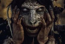 """The Goblin Market: The Mask Stall 2 / The hob operating this stall greets you with a grunt.  """"Masks!  Many, many!  Beautiful, good prices!  You need anything, you ask, yes?"""" / by Dante Stone"""