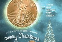 Gift of Gold... or Silver / Give the gift of Gold, not because it shimmers or because it never goes out of style, but because you know your giving value and they know it too. The 1/10 oz Gold American Eagle at under $150 is a gift that no one can ever forget. If its Silver, consider the 1 oz American Silver Eagle Coins, under $30 each.   Give us a call at (312) 253-7494 and make an appointment to check out our showroom, or go to Ausecure.com and start buying the right gifts today. / by Ausecure Gold & Silver Coins