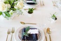 modern wedding | table decor / Modern table numbers, escort cards, etc