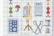 Cross stitch sewing motifs