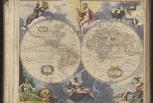 """Zee-atlas, ofte Water-wereldt -- Nautical Charts [1656?] / Eighteen maps [The first map is a map of the eastern and western hemispheres surrounded by allegorical figures in color ; title in upper margin : Nova delineatis totius orbis terrarum auctors A. Colon. Some of the maps have small inset maps on vignettes and are ornamented with coats of arms, extra title scrolls, etc. Maps [13-18] present the coasts of America [no. 16] """"Nieuwe Carybsche pascaart-The Carybes ilands newly setforth and amended"""" is dated, in a separate scroll, 1656.]"""