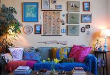 L I V I N G R O O M / I love cozy spaces, bright colors, clean lines, mixed prints, patterns, textures.