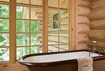 Bathrooms / Here are some of our favorite log home bathrooms .