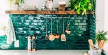 Kitchen inspiration / Kitchens of dream with colour, tiling, reclaimed or modern materials. Eclectic kitchens.