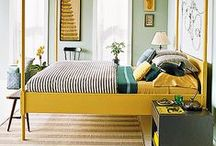 Bedroom Decor / Beautiful bedroom design, linens, pillows, & wall coverings.