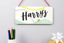 Personalised Childrens Room Signs / Make their space personal with a delightful personalised sign or arrow. All UK handmade in our Derbyshire studio.