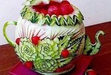 Watermelon Art... and Other Fruits or Veggies I Deem Worthy... / Carved fruit and veggies... / by Pamela Densmore