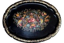 Toleware Trays / #Tole Hand #painted #trays, #antique and #vintage