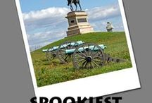 Spookiest Battlefields by TerranceTalksTravel.com / Discover America's Most Haunted Battlefields and their ghosts, such as the Phantom Rider, Old Green Eyes, Drummer Boy, Indian warrior spirits, and many more! Paranormal activity has been reported from Antietam to Vicksburg. Learn about these historic battles, hauntings, and visitor information.