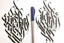 calligraphy. wide pen