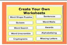 Free Teaching Tools / Create Your Own Worksheets - spelling, word shape puzzles, quizzes, word search, word unscramble, cryptograms, sentences, word walls, awards, alphabetizing, missing letters / by SchoolExpress