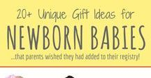 Newborn Baby-Themed Gift Ideas / Gift ideas for babies and their sleep deprived parents! These ideas include DIY projects, unique and great products, gifts of experiences and related charitable organizations.
