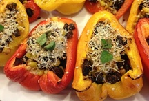 Oven Roasted Peppers with Low Fat Cream Cheese, Corn and Beans