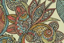 Meditative Art / A board of zentangly type stuff. Zentangle has been called yoga for the mind and I believe that. It's relaxing to sit back and mindlessly doodle really cool things. Here's some inspiration and tutorials I've come across.