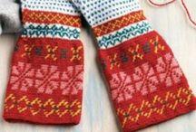 Knitted mittens, gloves, cuffs...