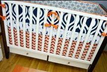 Navy & Orange Nurseries / Ideas for a modern orange and navy blue baby boy nursery!